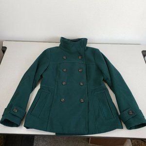 H&M Women Green Long Sleeve Double Breasted Comfort Pea Coat Size 12
